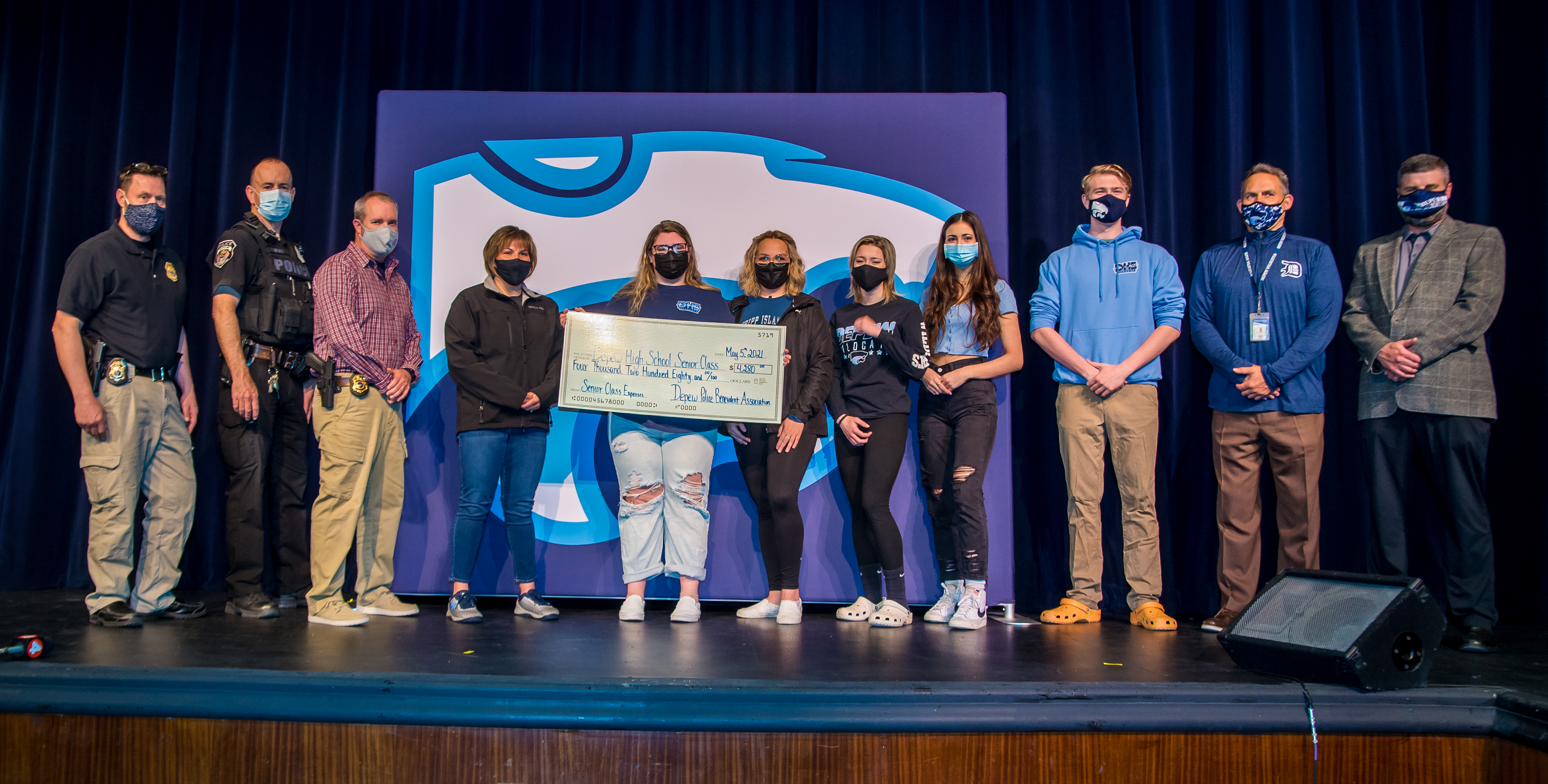 Depew Police present check to the Class of 2021