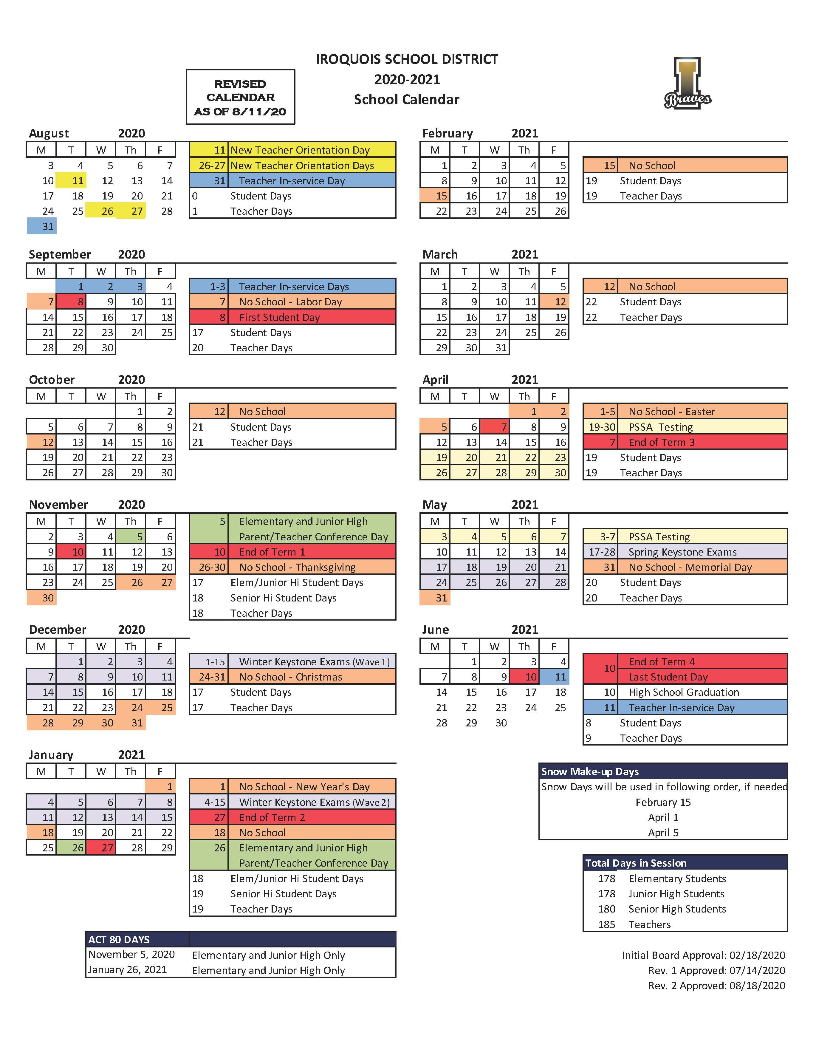 2020/2021 Iroquois SD Academic Calendar - Updated