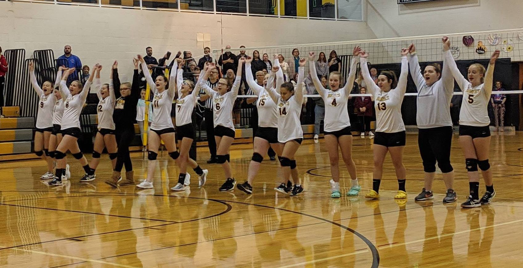 Volleyball team raising hands together