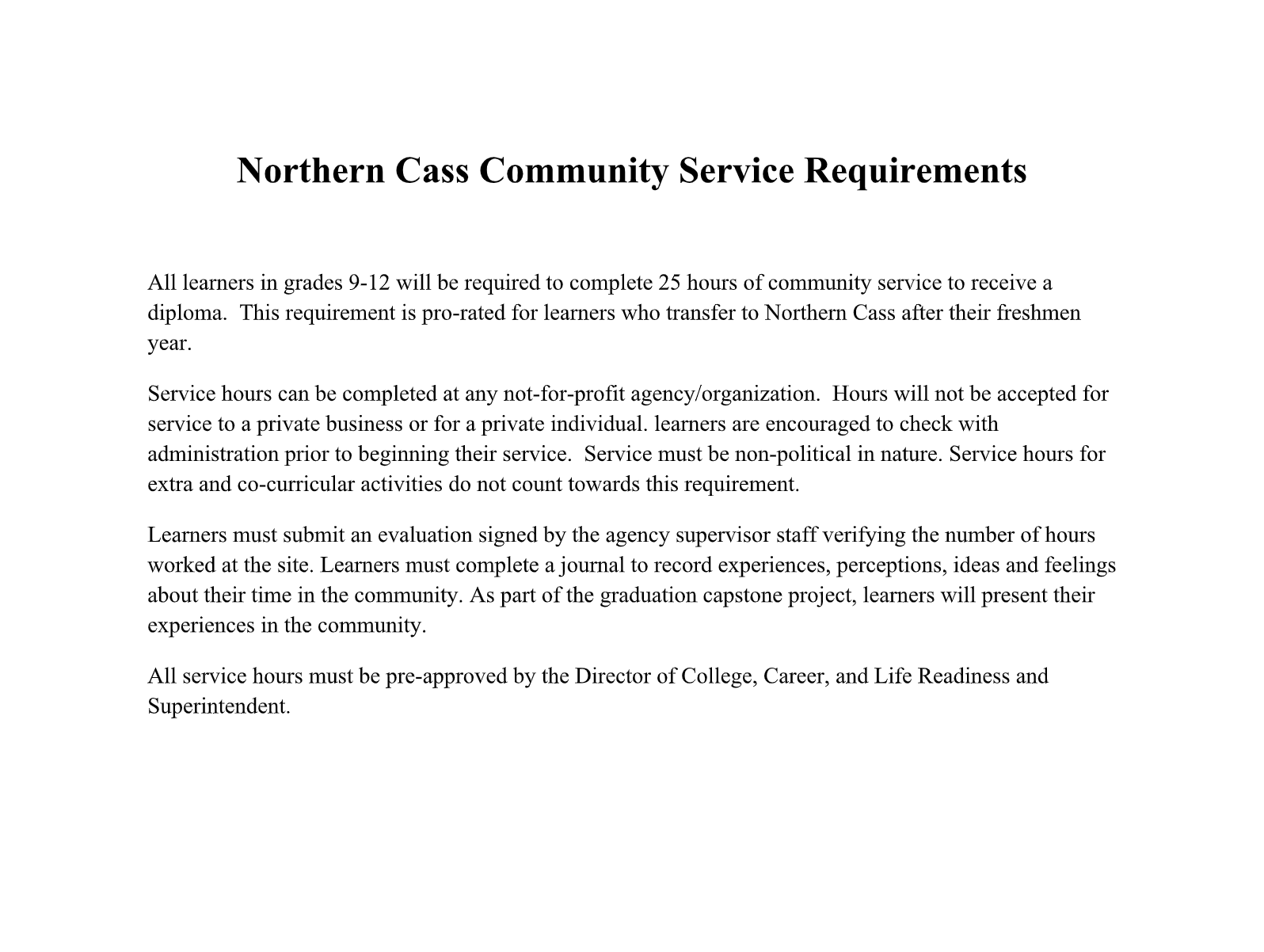 Community service requirements