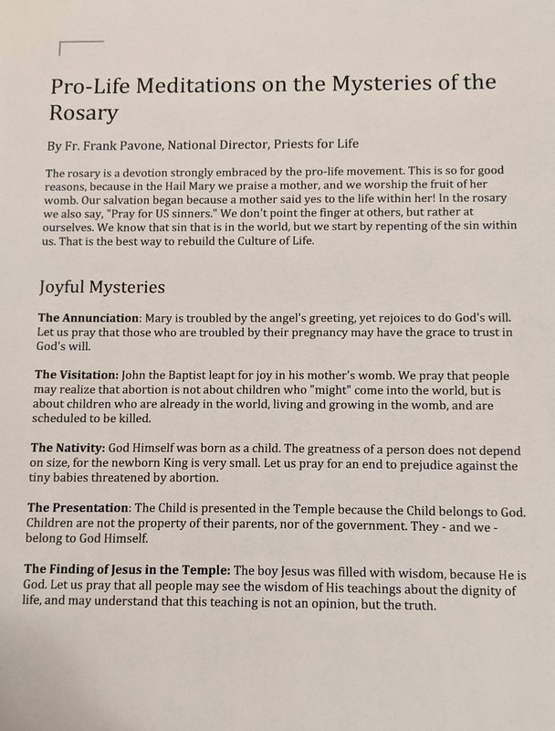Pro-Life Mediations on the Mysteries of the Rosary