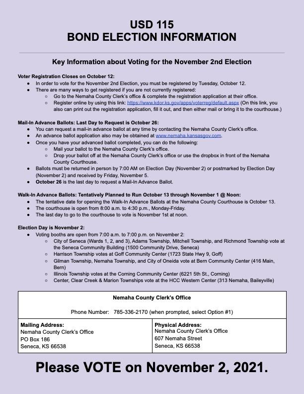 USD 115 Bond Election Information