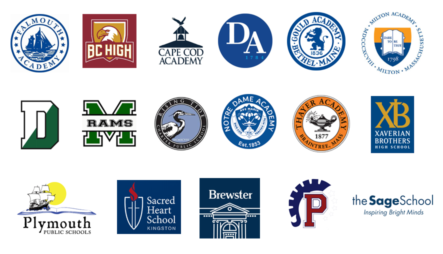 An image with many logos from different schools.