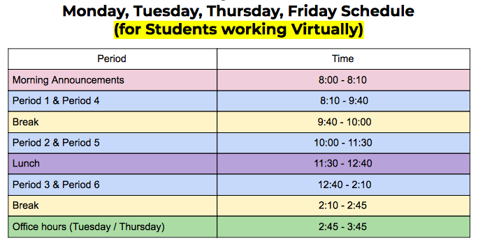 For students working Virtually