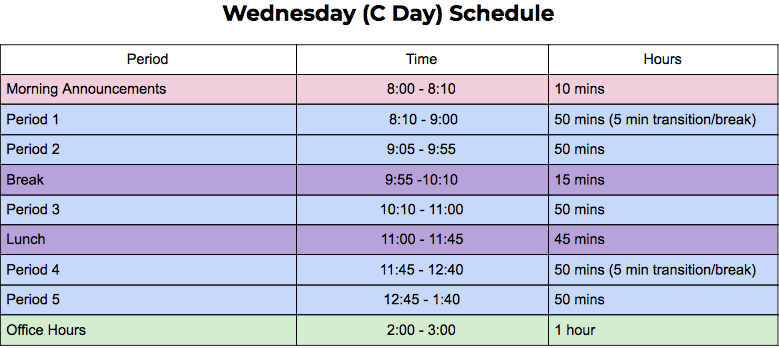 wed (C day) schedule