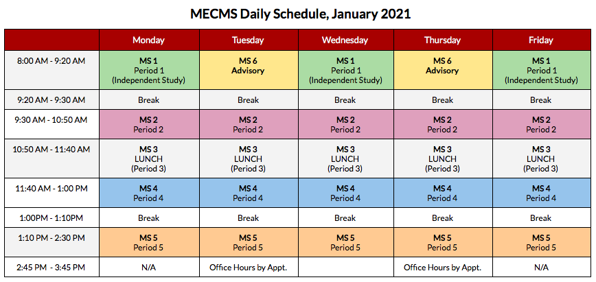 mecms daily schedule