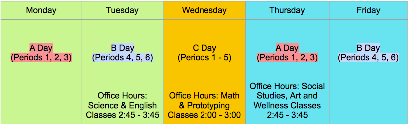 Daily Schedule Beginning Nov. 23, 2020 (all virtual classes)
