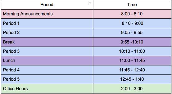 C Day Class Times (Wednesdays)