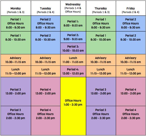 H.S. VIRTUAL CLASS SCHEDULE (STARTING NOV. 23, 2020)