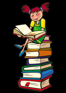 Little girl sitting on books