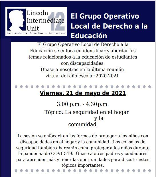 El Grupo Operativo Local de Derecho a la Educación