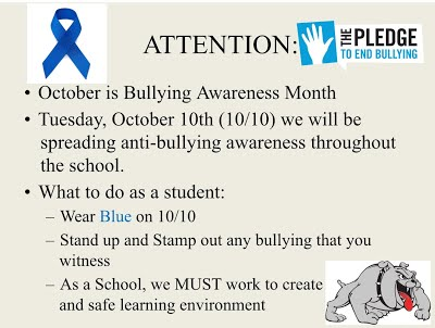 The Pledge to end bullying information.