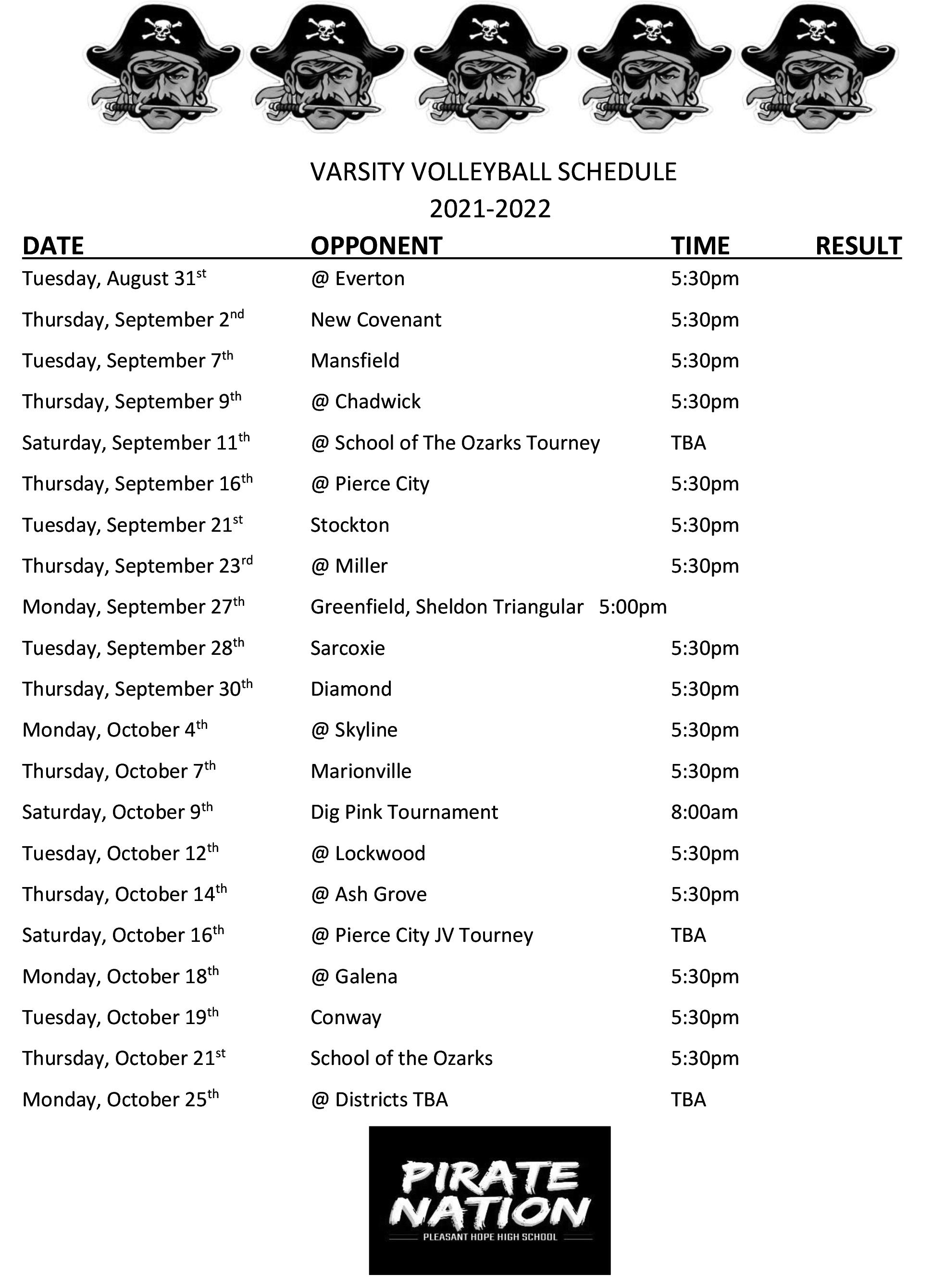 HS Volleyball Schedule