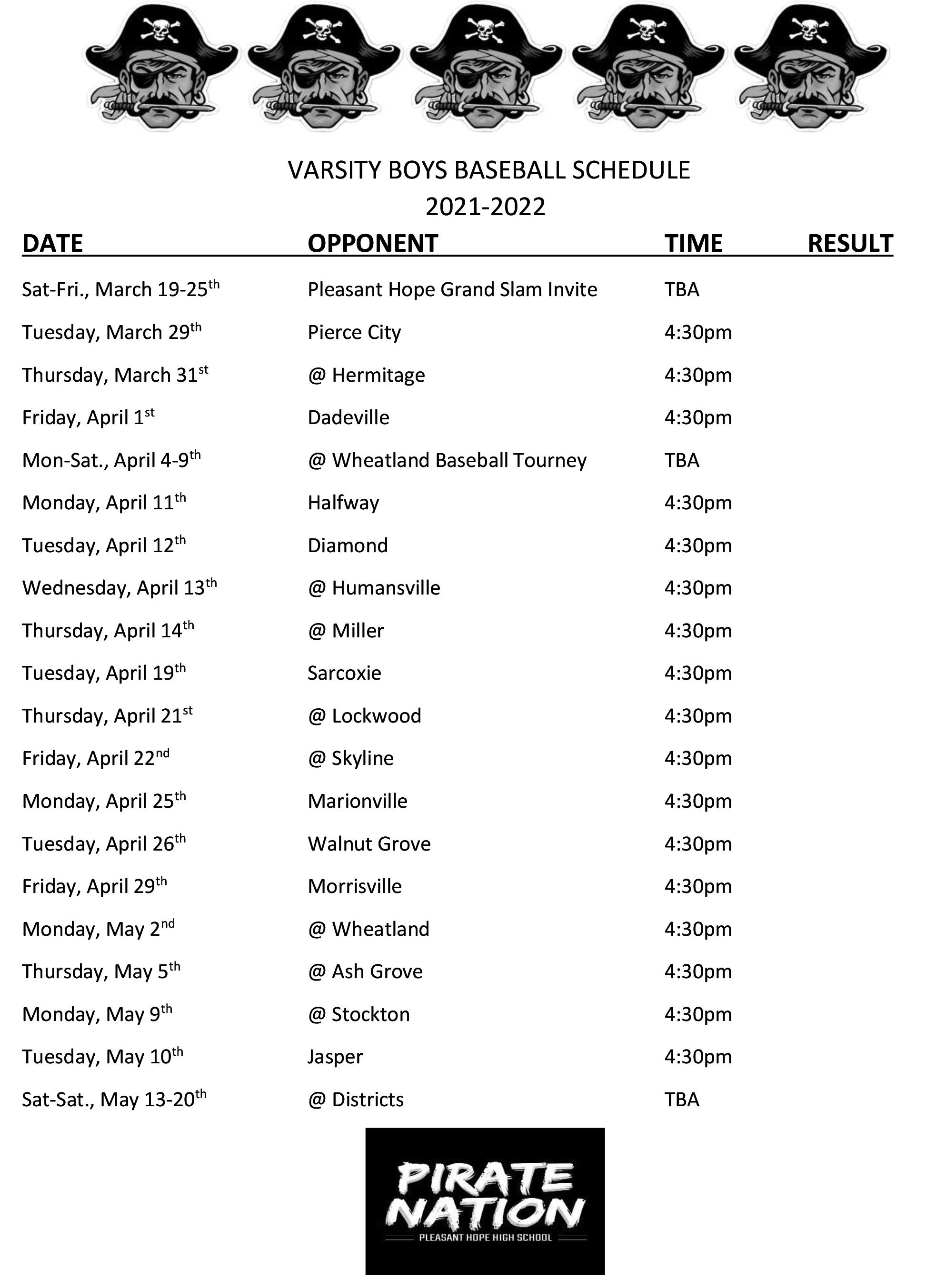 HS Baseball Schedule