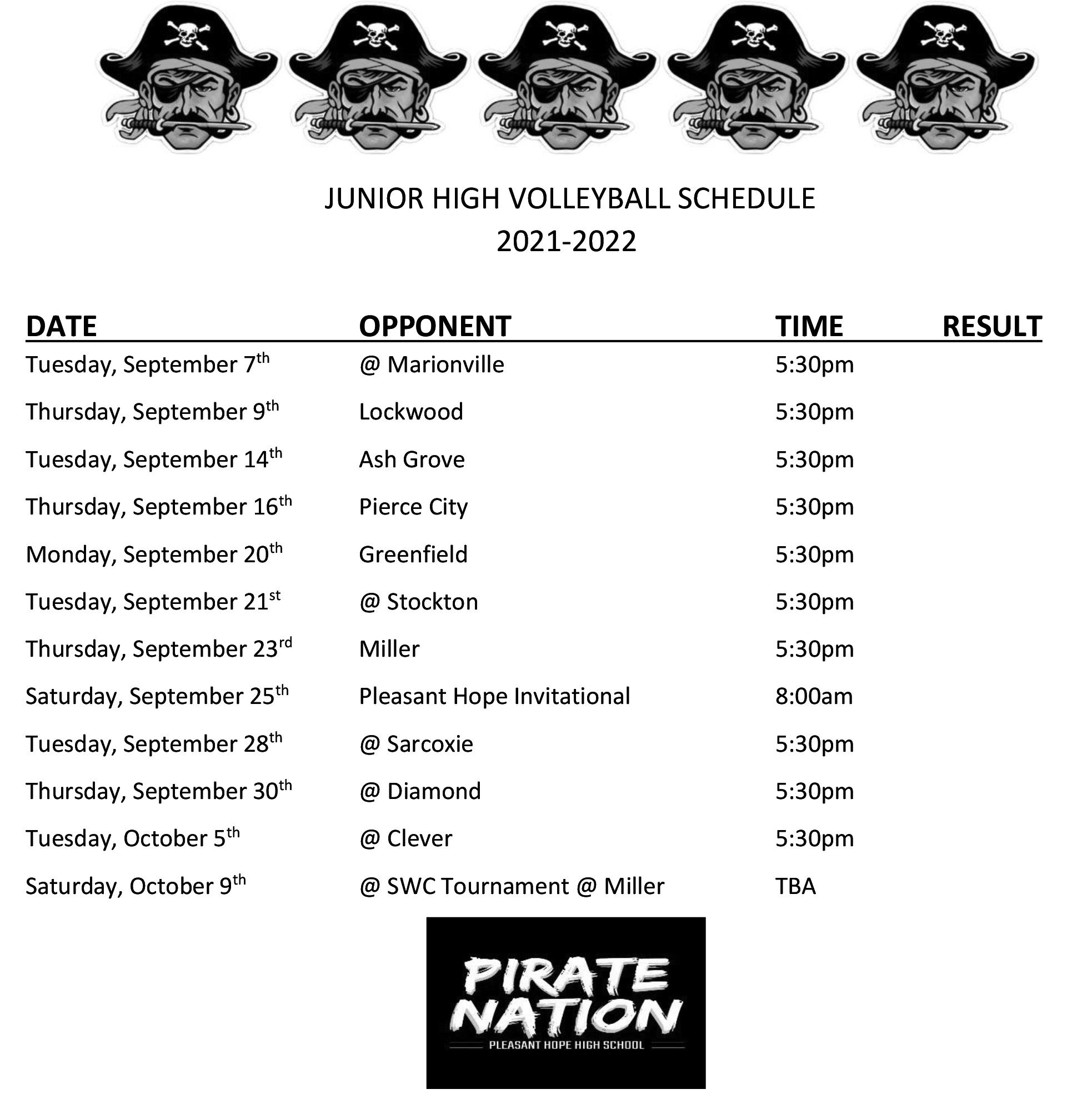 MS Volleyball Schedule