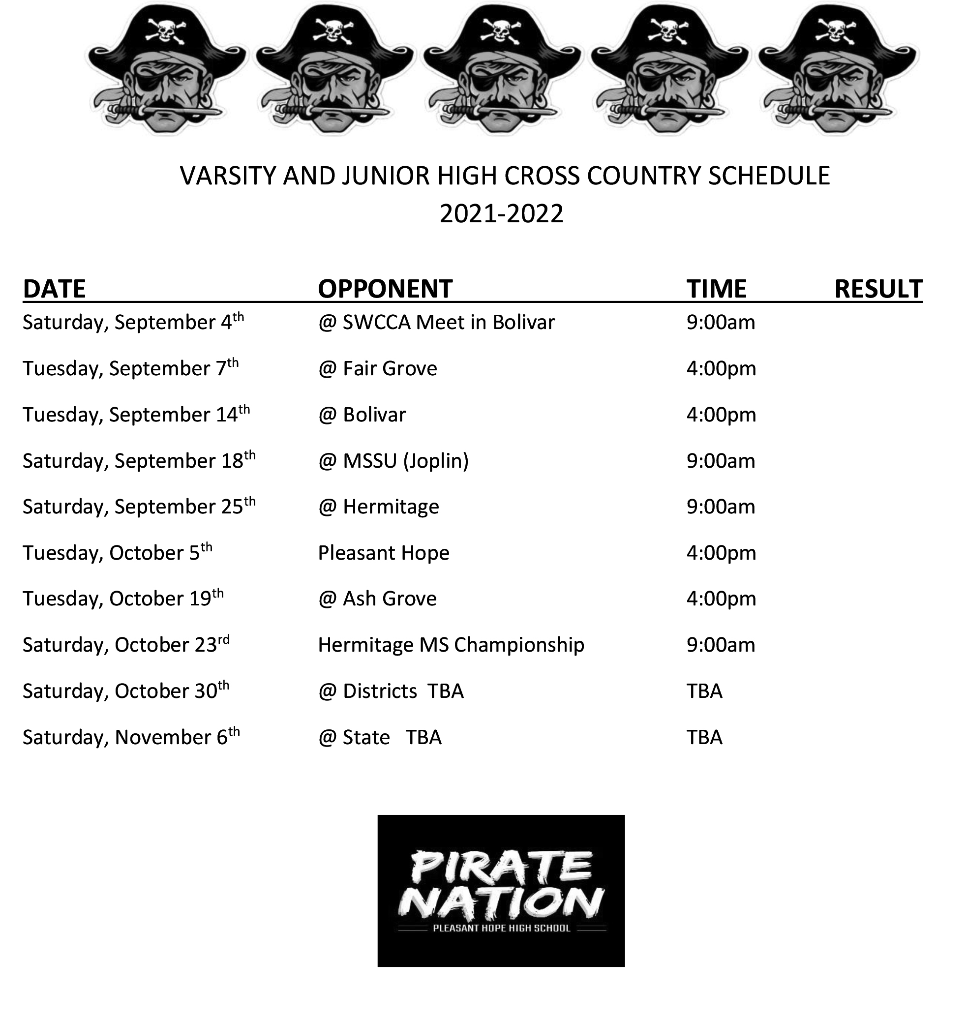 MS-HS Cross Country Schedule