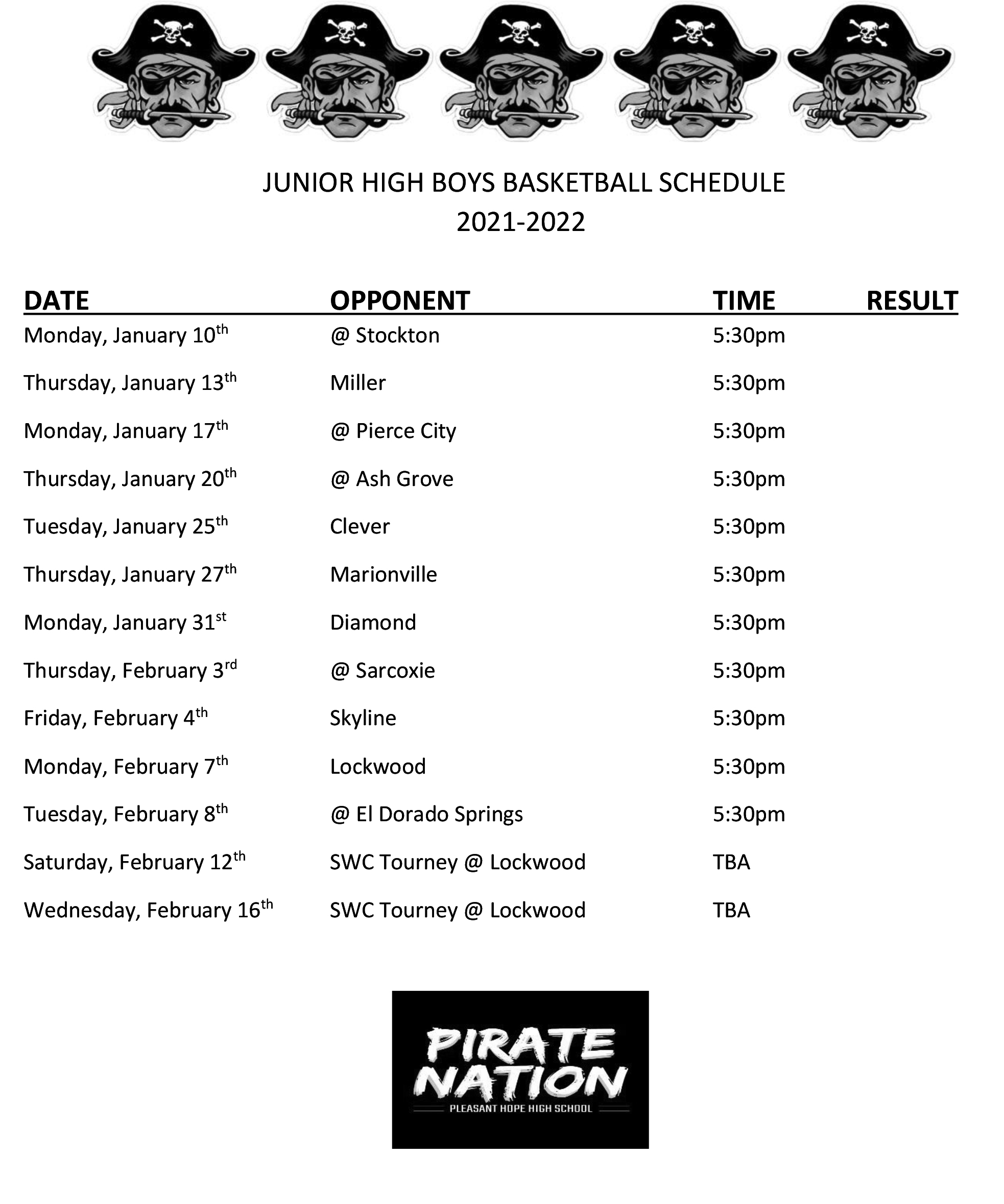 MS Boys Basketball Schedule
