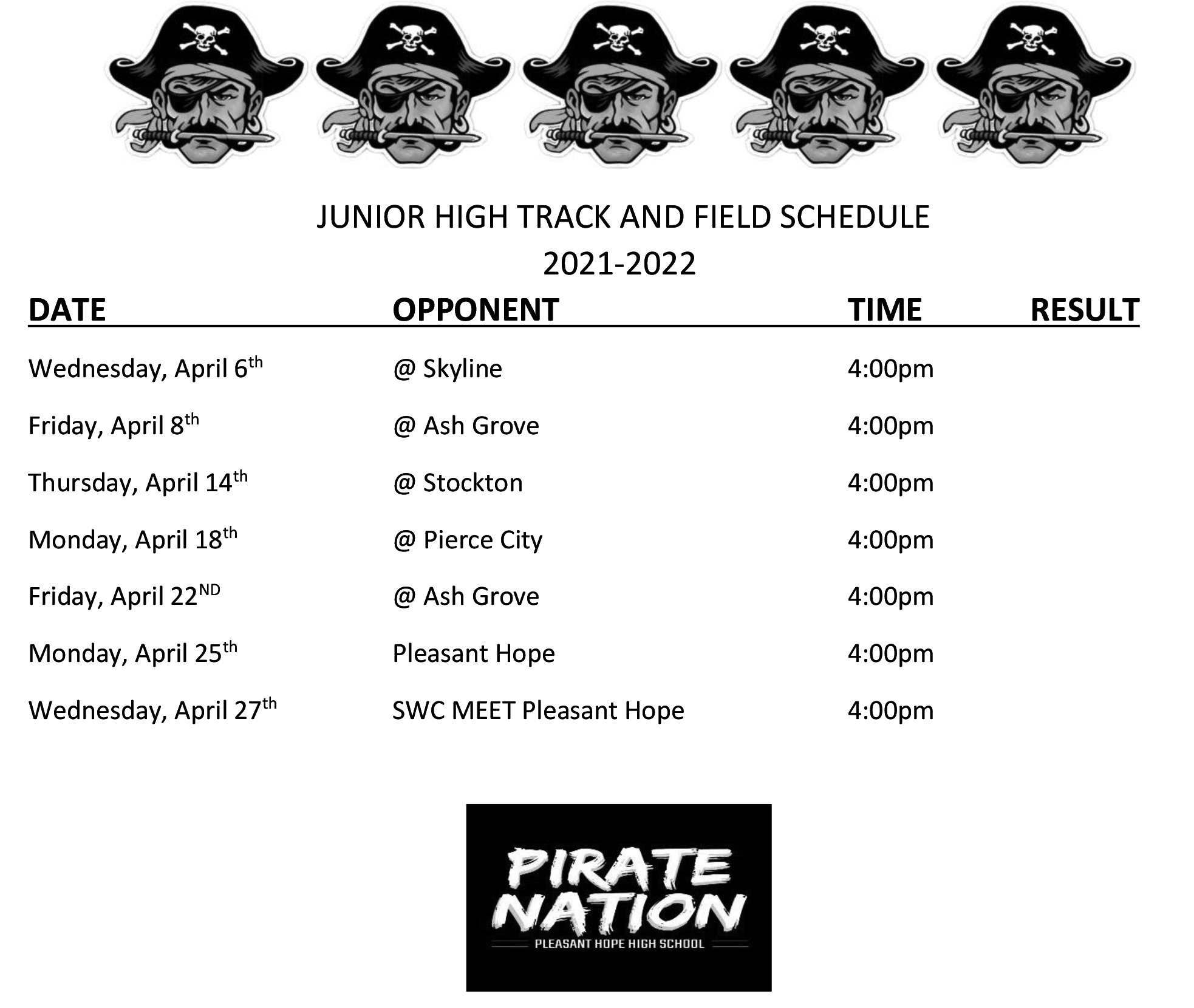 MS Track Schedule