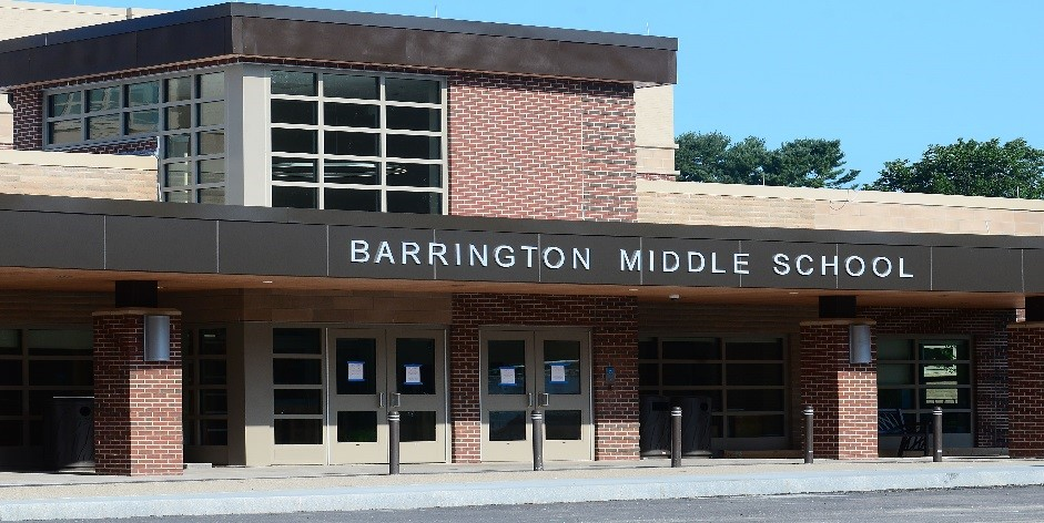 A photo of the front of Barrington Middle School