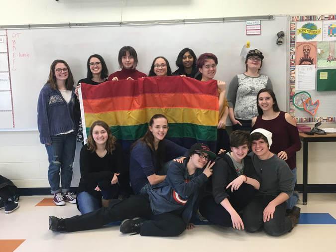 A photo of the Gay-Straight Alliance of Barrington High School