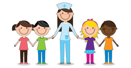 Drawing of the school nurse with her kids