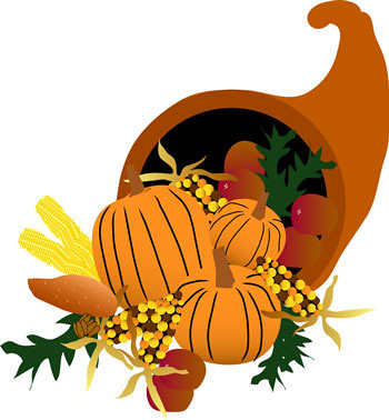 A clipart image of a cornucopia with fall leaves and pumpkins spilling out of it