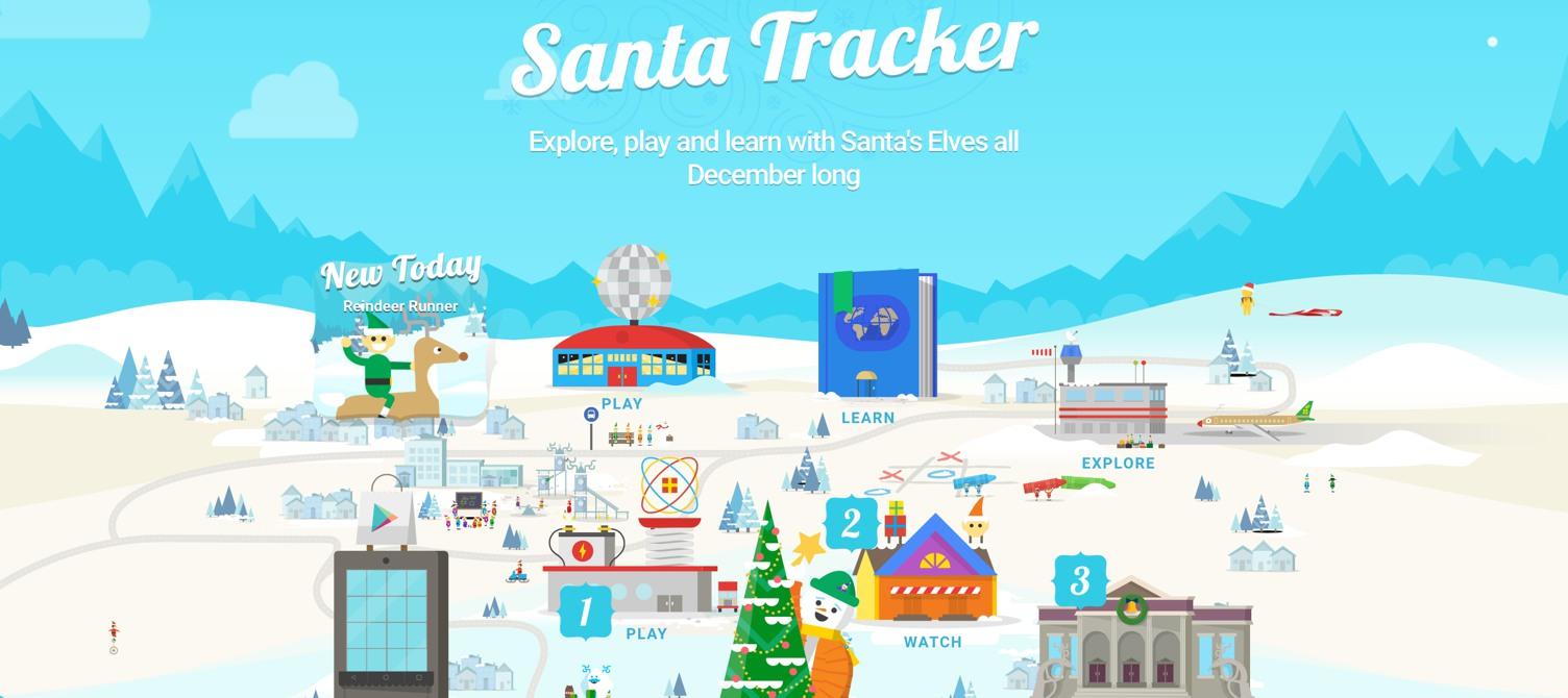 A graphic for Google's Santa Tracker website