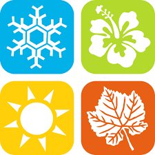 An image with icons representing the four seasons, a snowflake, a flower, a sun, and a leaf