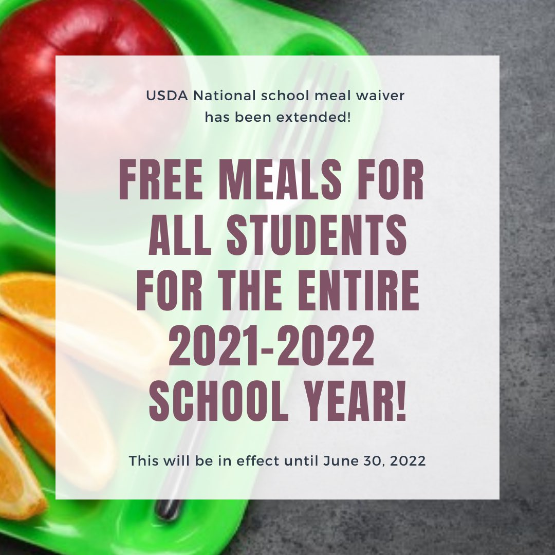 FREE MEALS FOR 21-22 SCHOOL YEAR
