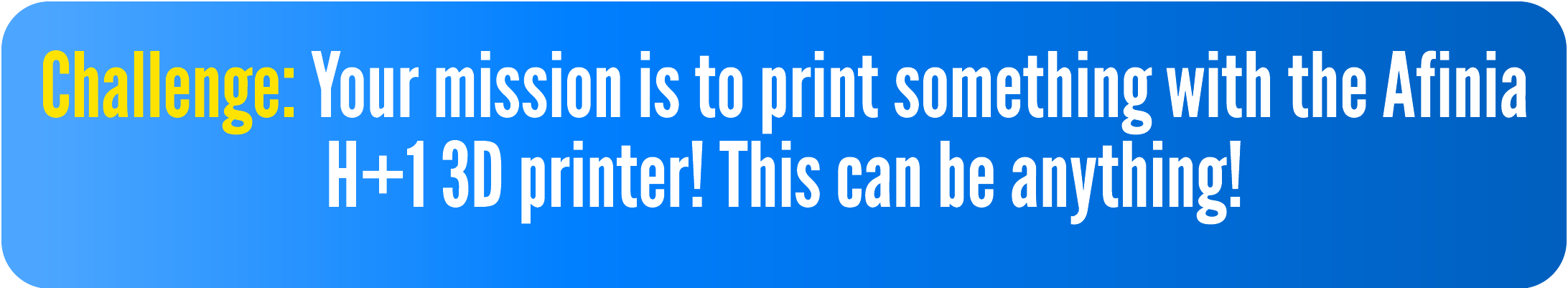 Challenge: Your mission is to print something with the Afinia H+1 3D printer! This can be anything!