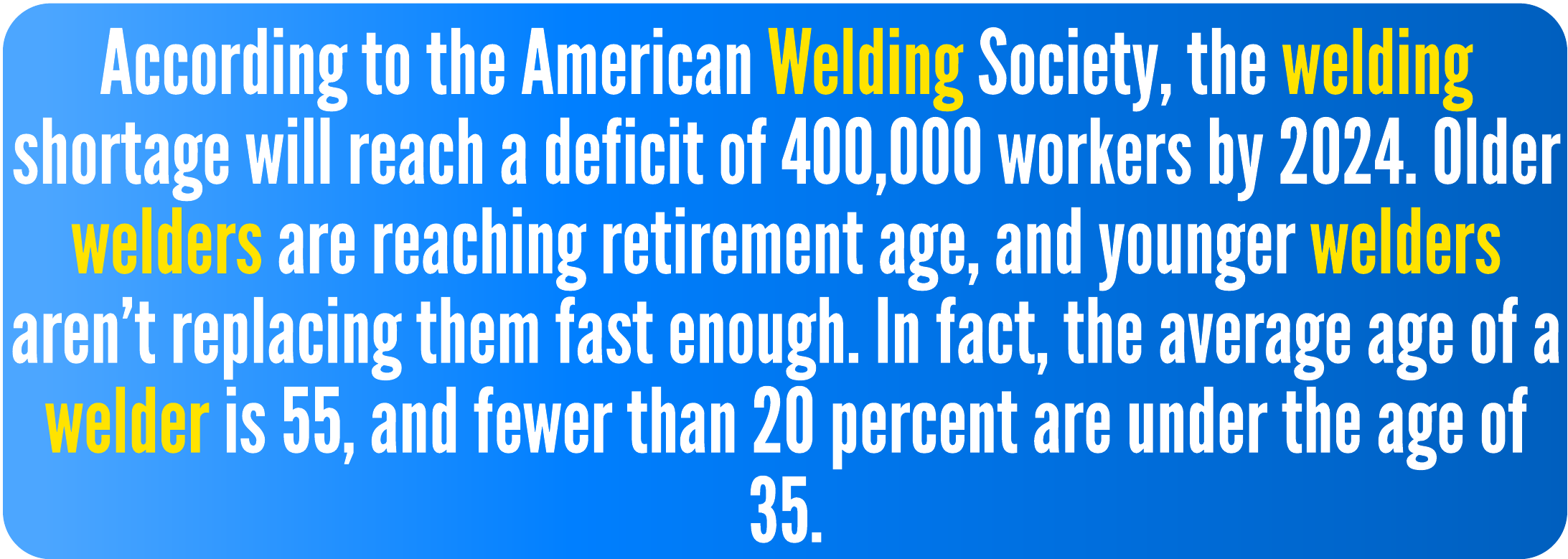 According to theAmerican Welding Society, the welding shortage will reach a deficit of 400,000 workers by 2024. Older welders are reaching retirement age, and younger welders aren't replacing them fast enough. In fact, the average age of a welder is 55, and fewer than 20 percent are under the age of 35.