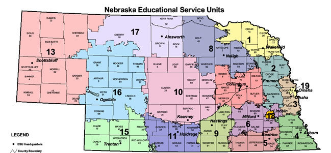 NEBRASKA EDUCATIONAL SERVICE UNITS MAP