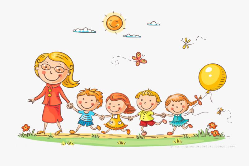 Preschool Teacher Leading Students