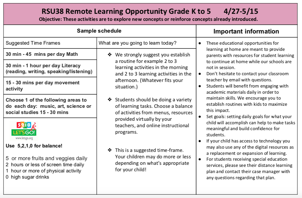REMOTE LEARNING OPPORTUNITY GRADE K TO 5 INFO