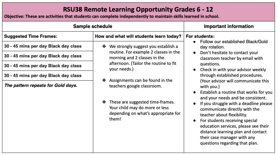 Remote Learning Opportunity Grades 6-12 info
