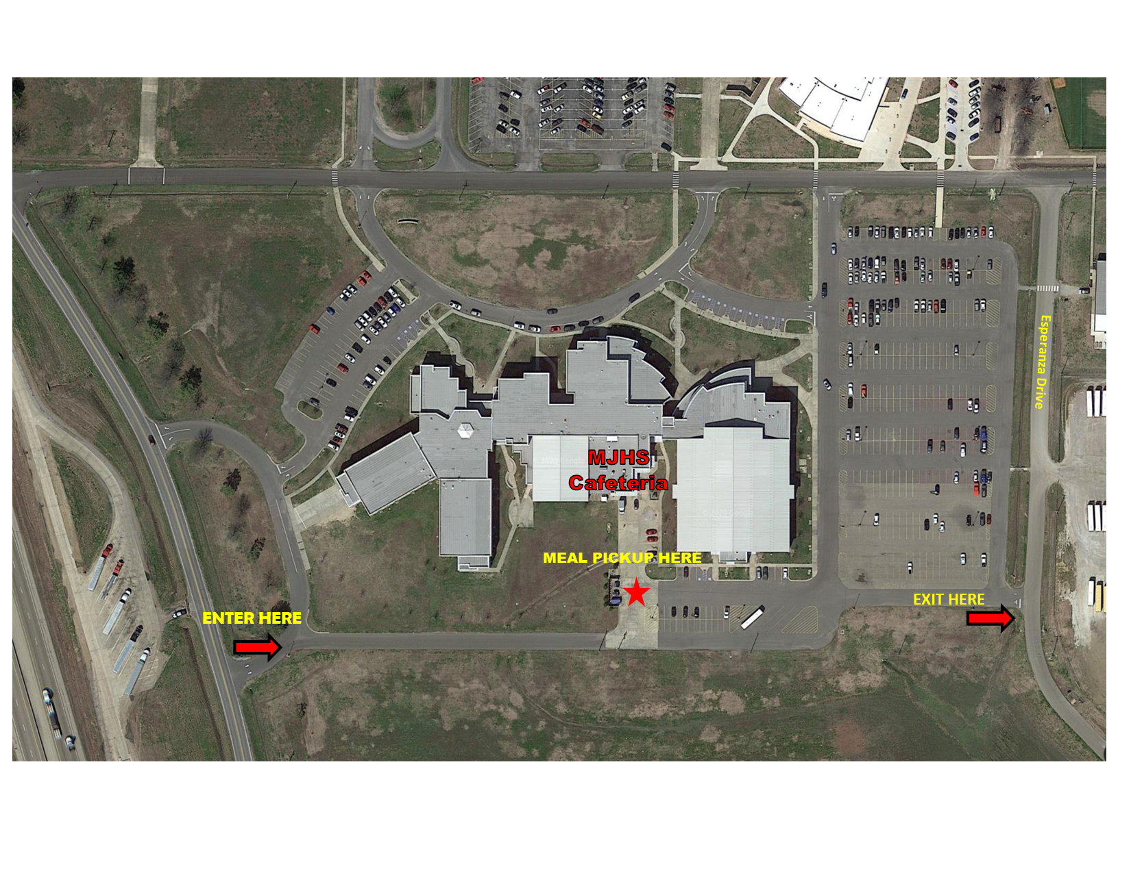 VIRTUAL LEARNING STUDENT MEAL PICKUP MAP FOR THE MJHS LOCATION