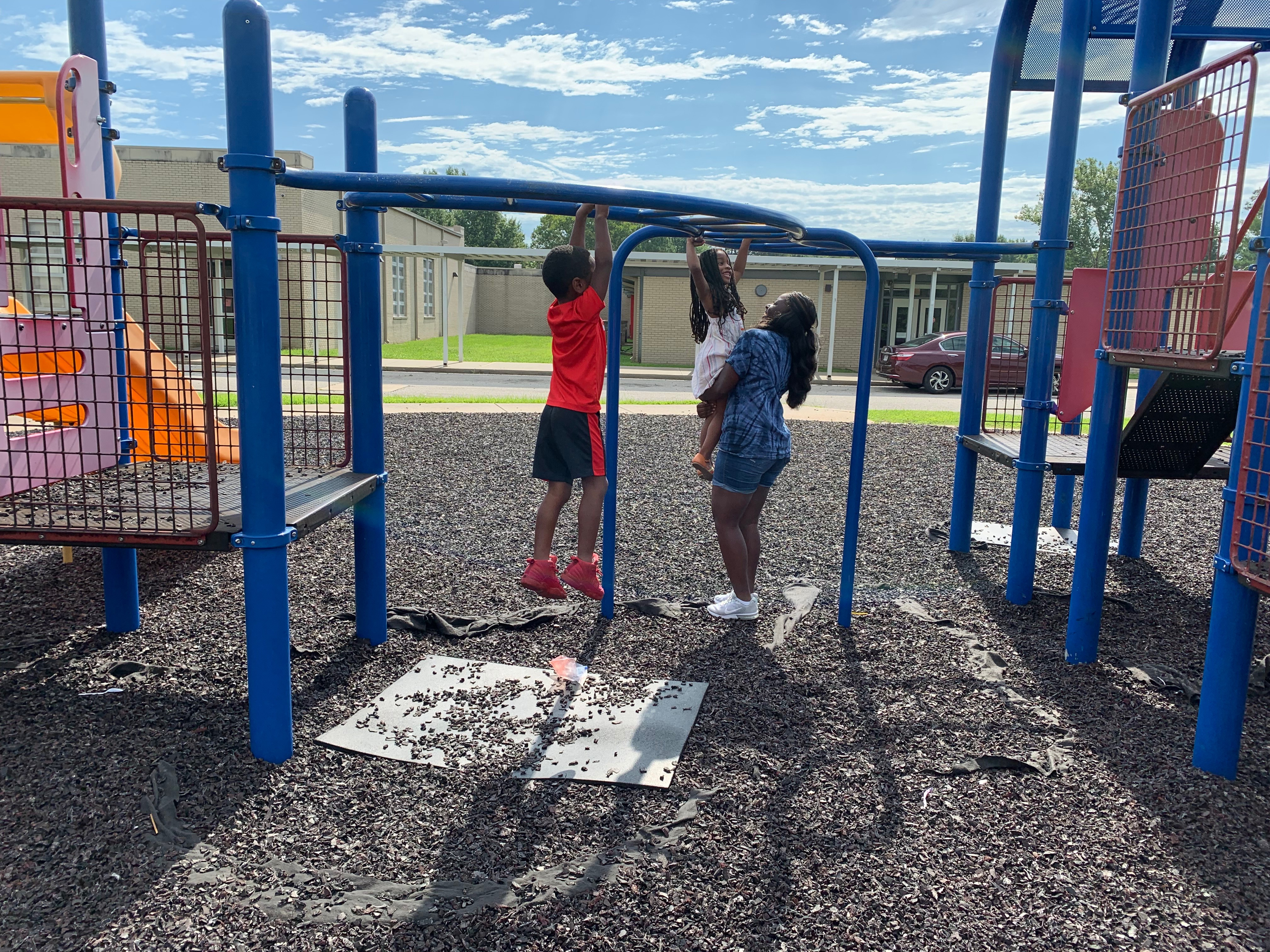 A photo of students playing in the playground.