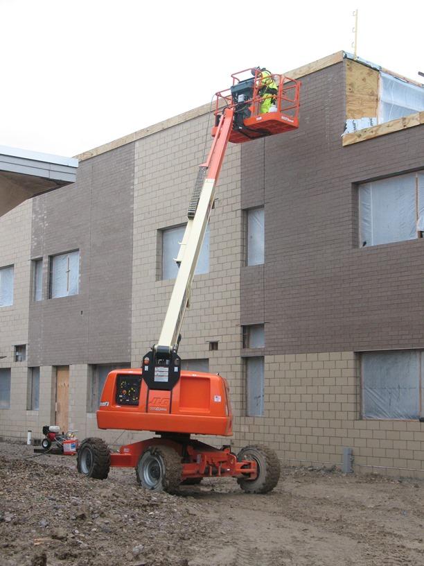 Photo of finishing up brick and block.