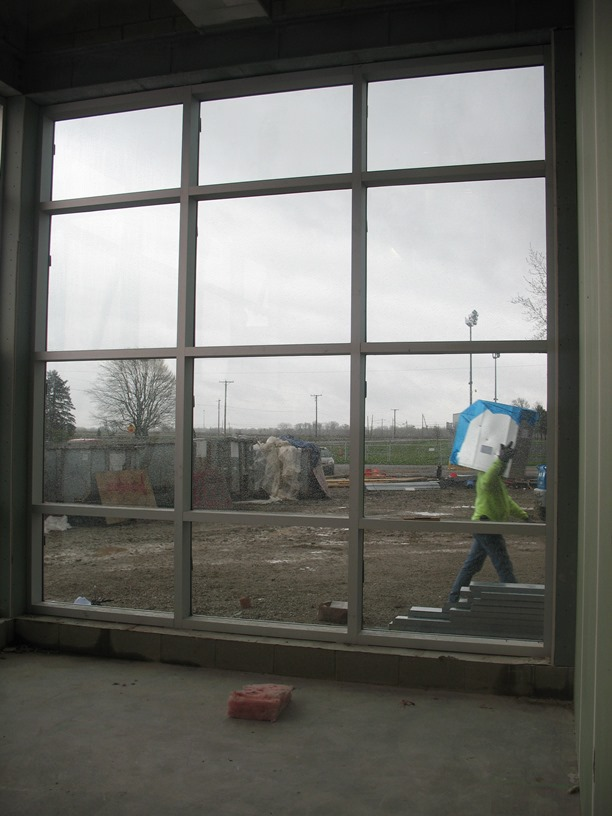 View from the conference room in the new high school office.