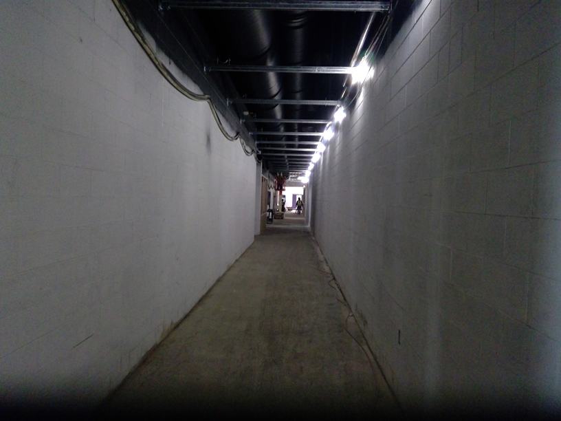 Photo of the Hallway between the gym and band room.