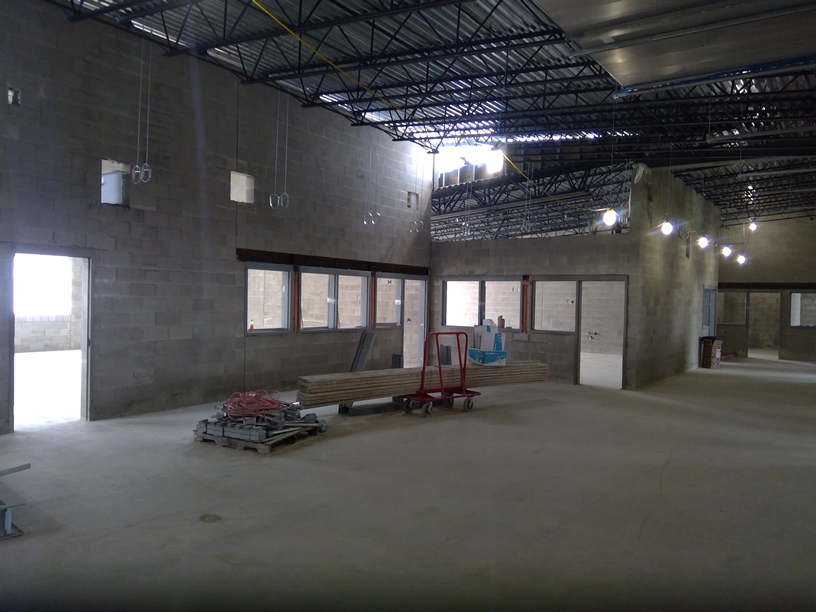 Photo of the Classrooms before dividing walls are added.