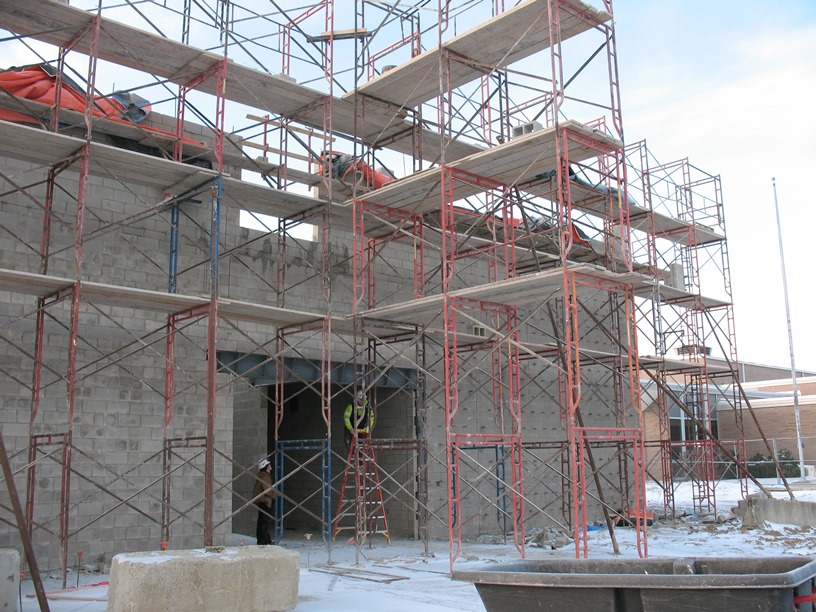 Photo of the Scaffolding on the north side of the building.