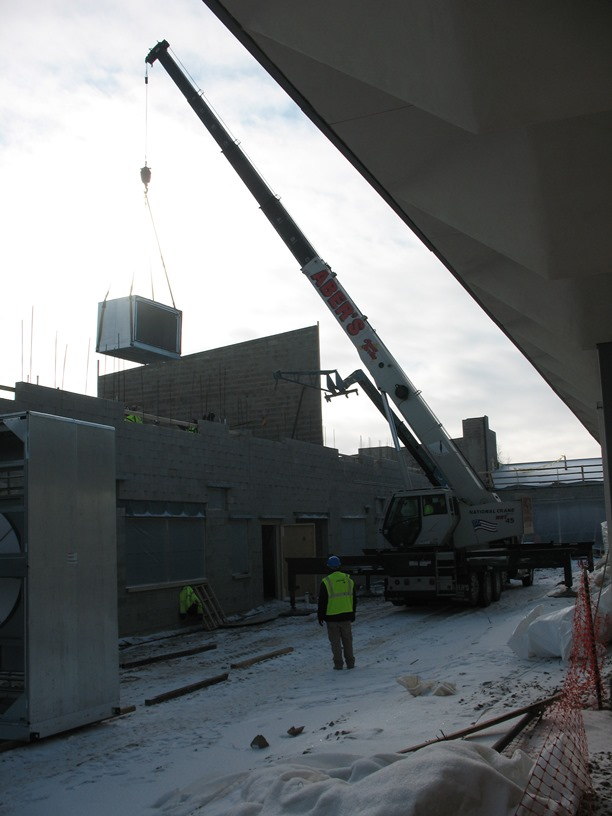 Photo of the Air handler being installed on the second floor.