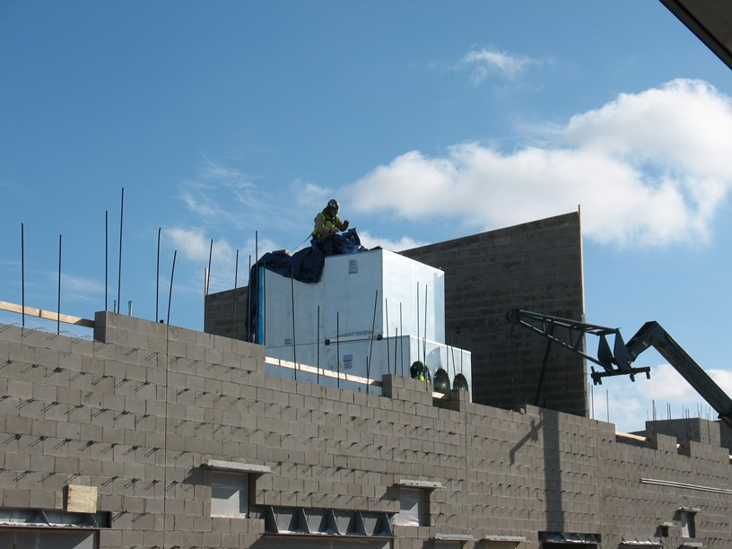 Photo of the Air handler being covered.