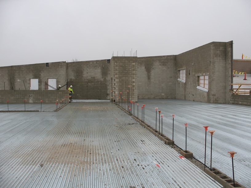 Photo of the deck looking south towards the gym and elevator shaft.