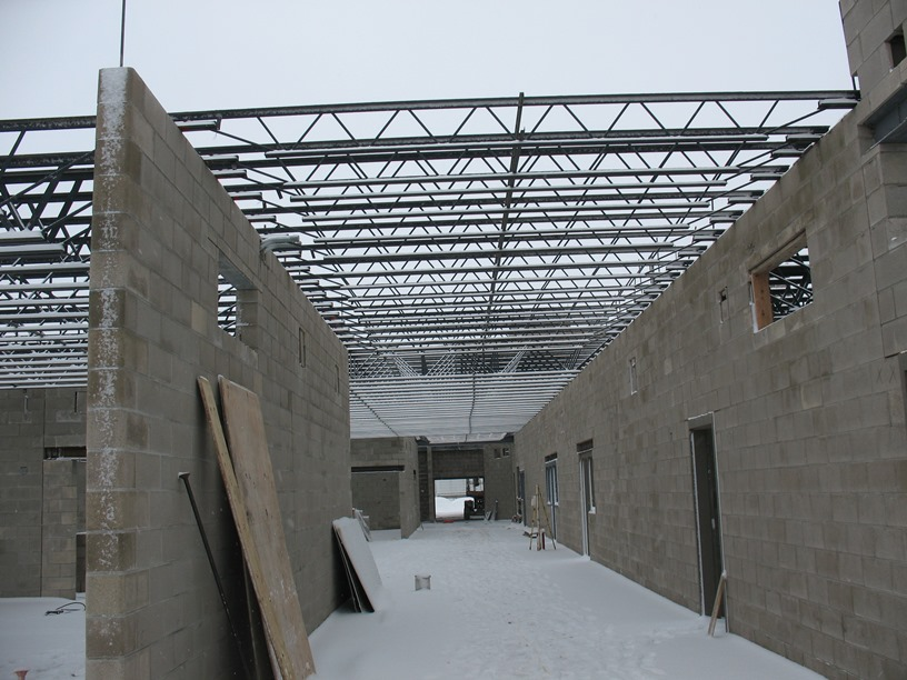 Photo of the Girders being installed in the academic wing.