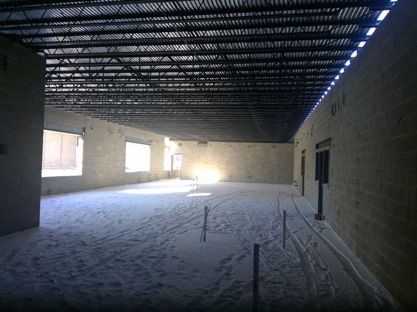 Photo of the Science classrooms before interior walls.