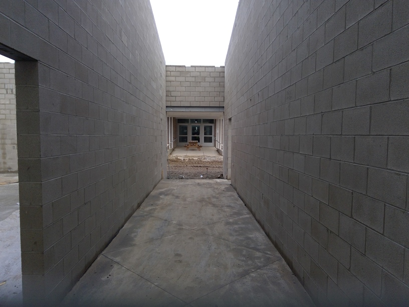 Photo of the Hallway from the new building to the present cafeteria.