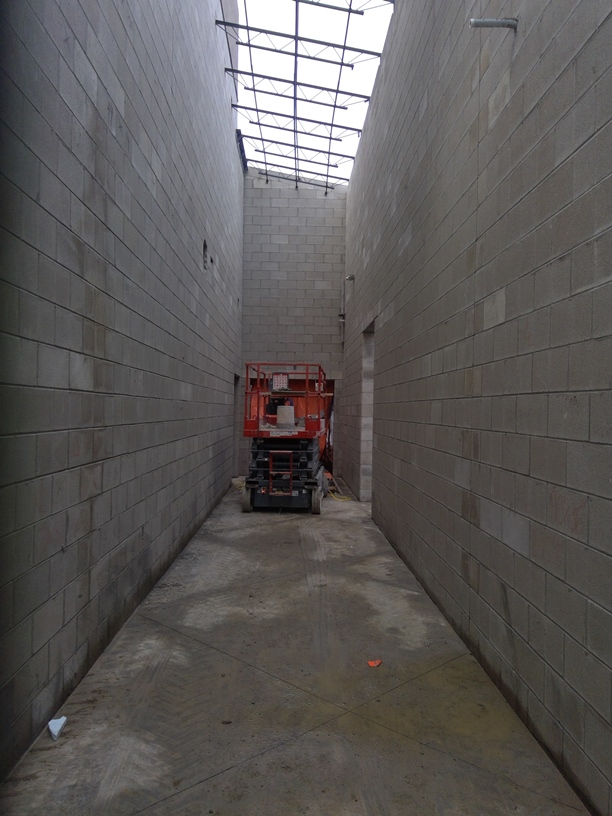 Photo of the Hallway between the band room and the gym.