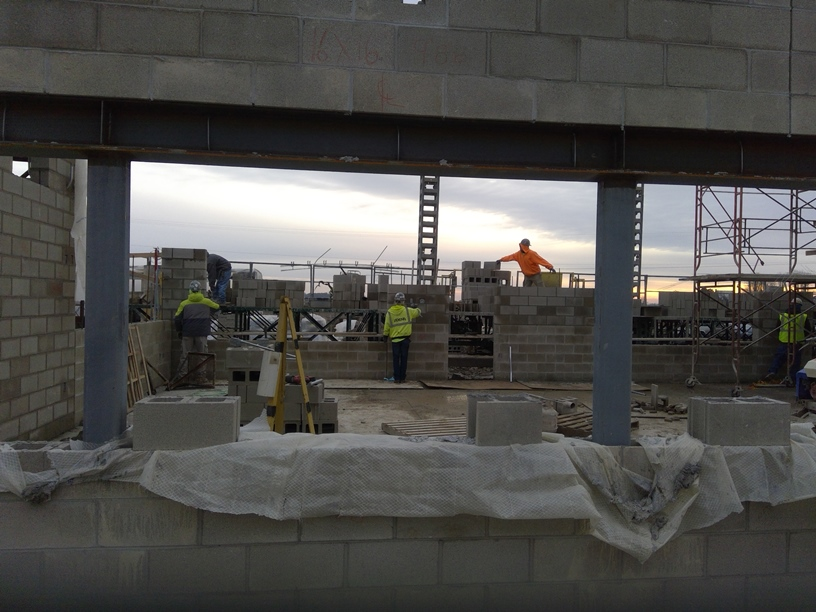 Looking through the classrooms and hallway towards the eastern sunrise.